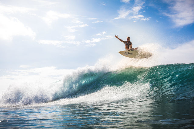 Rick surfing at Bingin, Bali
