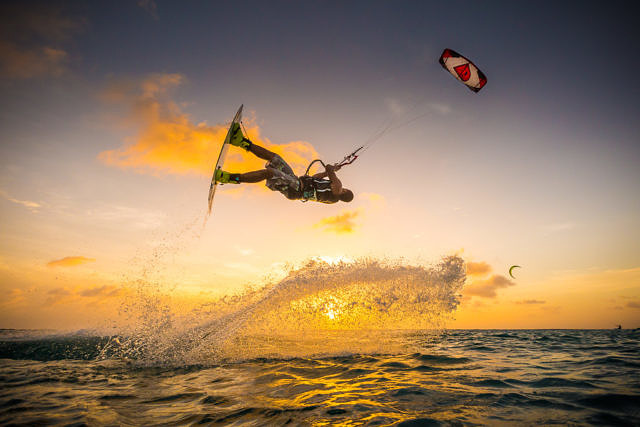 Christiaan Zweers kitesurfing on Bonaire