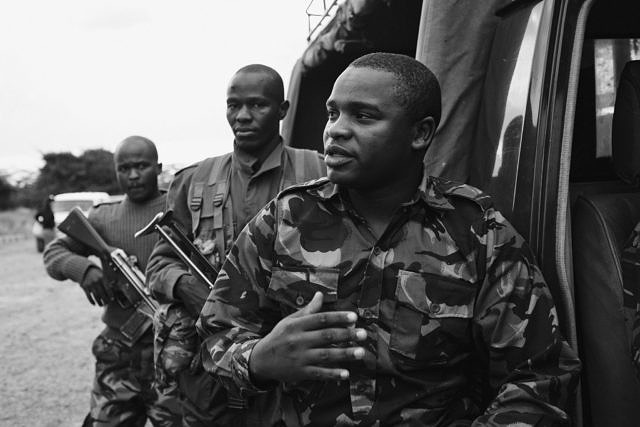 Kenya - Ol Pejeta, armed rangers ready for a night patrol