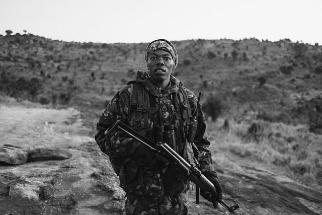 Kenya - Borana, armed rangers going on patrol