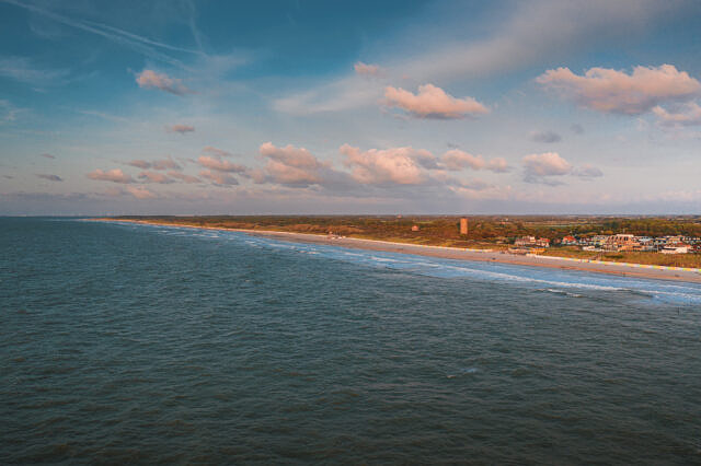 Domburg evening surf aerialDomburg evening surf aerial