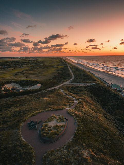 Domburg evening surf aerial